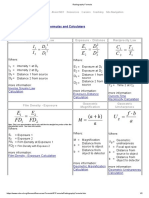 Radiography Formulas