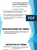 Specification of Tools. 4th Observation