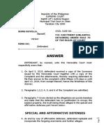 Unlawful Detainer Answer