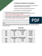 Aplicación de Métodos de Valuación de Inventarios.