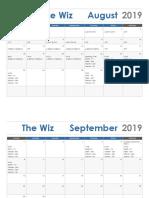 the wiz calendar 2019