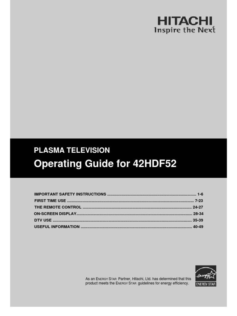 42hdf52 electrical connector digital television rh scribd com Hitachi Ultravision Owner's Manual