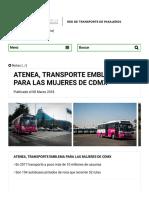 Atenea, Transporte Emblema Para Las Mujeres de Cdmx