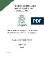 Propiedades Químicas de Ácidos Carboxílicos y Derivados