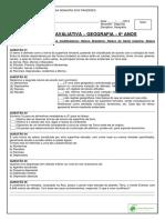 Atividade Avaliativa - Geografia - 6º Anos - Relevo