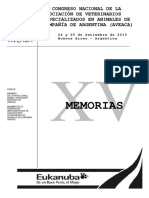 Memorias Xv Congreso Nacional de La Asociación de Veterinarios Especializados en Animales de Compañía de Argentina (Aveaca)