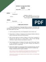 Sample Criminal Complaint for Violation of RA 9262