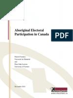 Aboriginal Electoral Participation in Canada