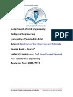 0 Coursebook Methods of Construction and Estimation 2018 2019_71b2ba76ee5b9acff515e0c6e86b3655