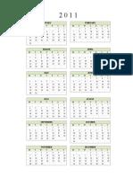Microsoft Office Excel Calendar 2011