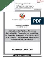 Aprueban la Política Nacional de Inclusión Financiera y modifican el Decreto Supremo N° 029-2014-EF que crea la Comisión Multisectorial de Inclusión Financiera