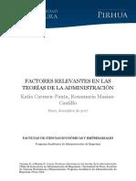 Factores Relevantes en Las Teorías de La Administración