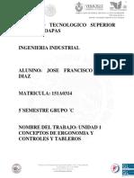 Unidad 1 Conceptos de Ergonomia y Controles y Tableros