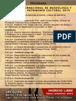 Programa. I Jornada Museologia Y Gestión del Patrimonio Cultural. Arequipa 2019