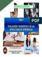 Tema 7 Evaluacion y Diagnostico de Las Dificultades de Aprendizaje