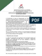 Especialização Em Ensino de Líguas e Literaturas Na Educação Básica Edital 01.2019