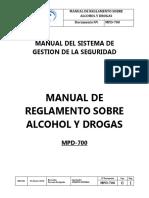 Mpd-700 Manual de Reglamento Sobre Alcohol y Drogas