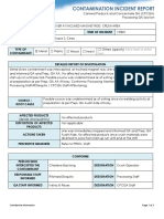 Contaminant Incident Report Metal Sliver Contaminant 8.5.19