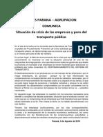 Comunicado Buses Paraná
