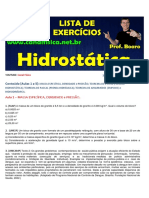 Lista de exercícios de Hidrostática professor Boaro