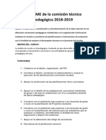 INFORME de La Comisión Técnico Pedagógica 2018