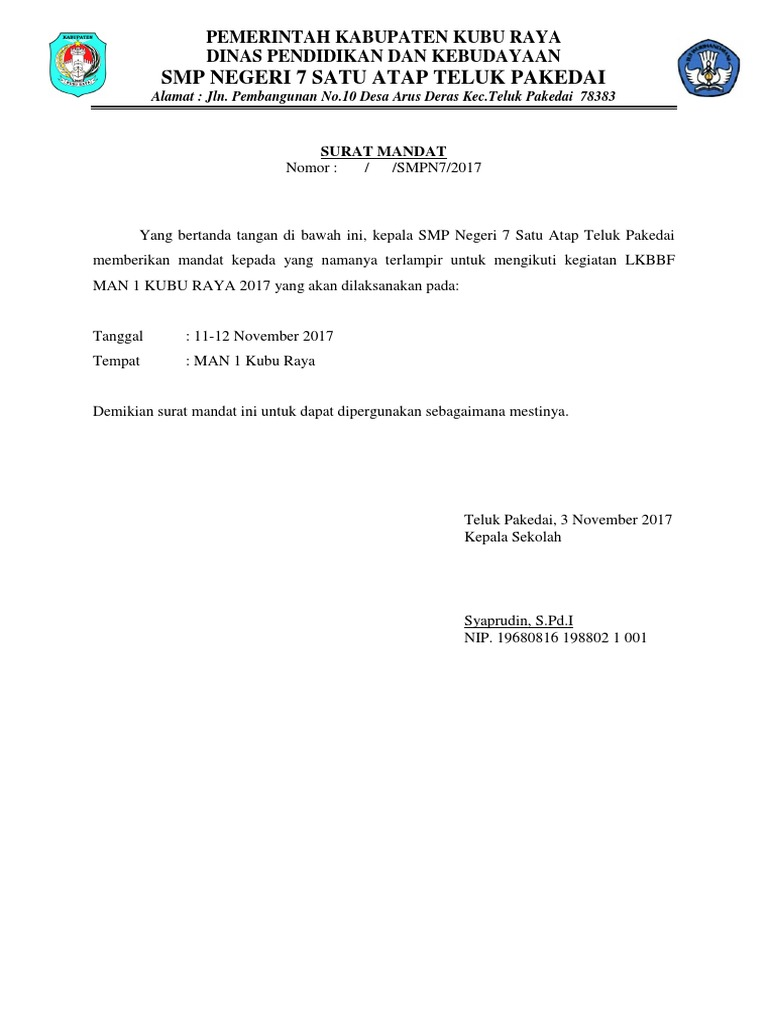 Surat Mandat Lkbbf 2017docx