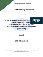 IAF MD 22 2019 Application ISO 17021-1 for Certification K3