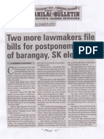 Manila Bulletin, Aug. 6, 2019, Two more lawmakers file bills for postponement of barangay, SK elections.pdf