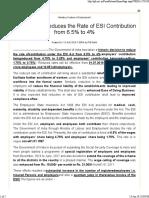 ESI - Reduced Contribution w.e.f 1-Jul-19