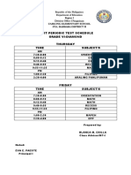 Time Schedule First Periodic Test
