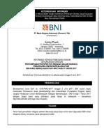 39. Obligasi Berkelanjutan I BNI Tahap I Tahun 2017