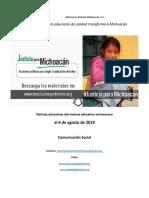 Síntesis semanal de noticias del sistema educativo michoacano al 6 de agosto de 2019