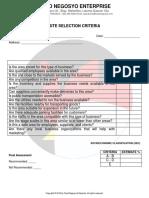Mw Site Selection Criteria