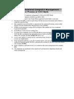 Complaint Management Process at ICICI Bank