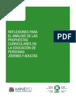 Reflexiones para el Análisis de las Propuestas Curriculares en la Educación de Personas Jóvenes y Adultas