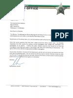Sheriff Ric Bradshaw Letter