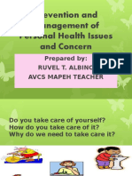 Prevention and Management of Personal Health Issues and Concern