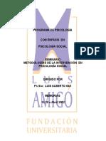 SEMINARIO  METODOLOGÍAS DE LA INTERVENCIÓN  EN PSICOLOGÍA SOCIAL