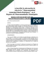 Constitución de la mancomunidad de Simón Rodriguez - Paita - Piura