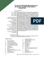 EVALUATION OF STATIC PRESSURE BEHAVIOR IN AN OSCILLATING WATER COLUMN WAVE ENERGY CONVERTER