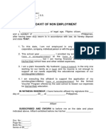 Affidavit of Non Employment