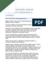 Belgische Doktoren, Gebruik Vaccin Zwangeren is Illegaal[1]