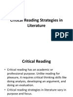 Critical Reading Strategies in Literature