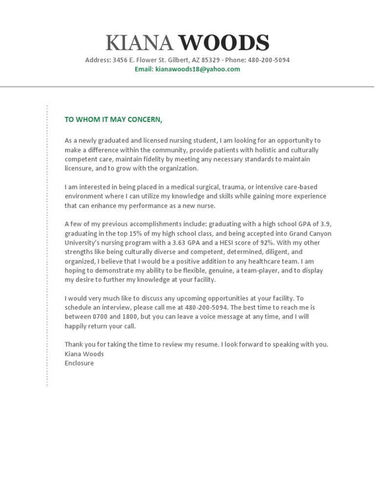 nsg436 cover letter draft pdf