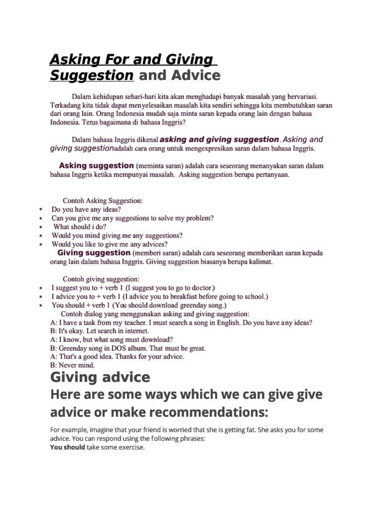 And Advice Asking F Asking For And Givi Or And Giving Ng Suggestion Suggestion And Advice Human Body Syntactic Relationships