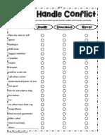 How I Handle Conflict Worksheet
