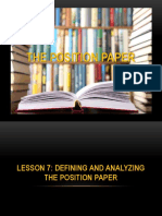 Lesson 7 the Position Paper