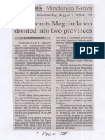 Manila Bulletin, Aug. 7, 2019, Solon wants Maguindanao divided into two provinces.pdf