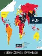 Mapa de 2019 dos Repórteres Sem Fronteiras sobre Liberdade de Imprensa