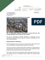 20190806 Inner City Transport Masterplan- Fact Sheet Final